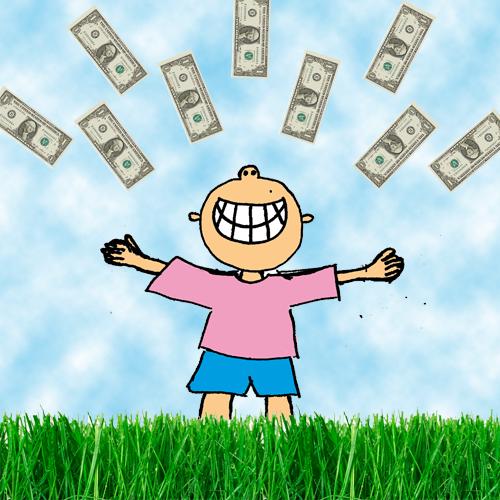 Ein gezeichneter Junge der auf einer Wiese steht und Dollar-Scheine in die Luft wirft