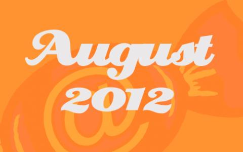 """Orangene Transparenz vor dem Social Media Konzepte Bonbon. Davor in weißer Schrift die Worte """"August 2012""""."""