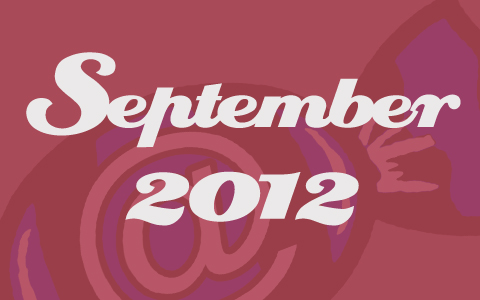 "Social Media Konzepte Bonbon hinter roter Transparenz. Aufschrift ""September 2012"" Monatsrückblick Blog"