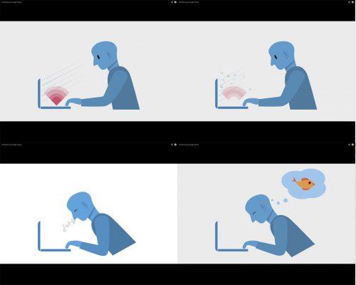 Vier einzelne Bilder einer Figur am Laptop. Erst konzentriert, dann weniger, dann schlafend und am Ende von einem Fisch träumend.