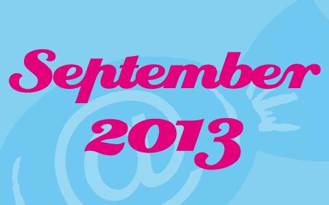 """Pinke Schrift mit den Worten """"September 2013"""" auf hellblauem Grund."""