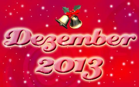 """Hellrote Schrift mit den Worten """"Dezember 2013"""" auf rotem Grund. Um die Worte sind Schneeflocken zu sehen. Darüber befinden sich zwei Glocken an einem Mistelzweig."""
