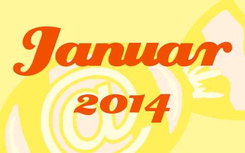 "Gelbe Transparenz über dem Social Media Konzepte Bonbon. Davor in orangener Schrift die Worte ""Januar 2014""."