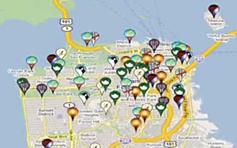 Ausschnitt bei Google Maps mit einigen gesetzten Stecknadel.