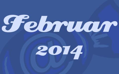 """Blaue Transparenz vor dem Social Media Konzepte Bonbon. Davor in weißer Schrift die Worte """"Februar 2014""""."""