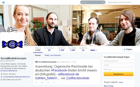 Screenshot der veralteten Twitter-Seite von Social Media Konzepte.