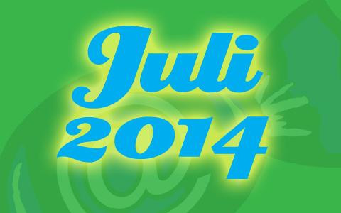 "Social Media Konzepte Bonbon hinter grüner Transparenz. Davor die blaue Aufschrift ""Juli 2014""."