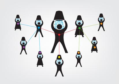 Die Ausbreitung der Ice-Bucket-Challenge anhand von vernetzten Figuren mit Eimern über den Köpfen erklärt.