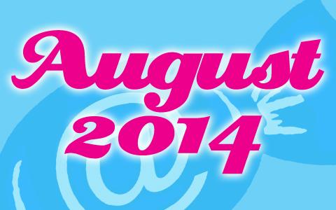 """Die Worte """"August 2014"""" in pinker Schrift vor hellblauem Hintergrund un dem Social Media Konzepte Logo."""