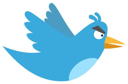 Eine Kombination aus dem Twitter Logo und einem Angry Bird.