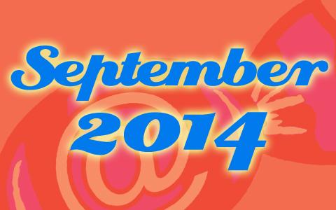 "Social Media Konzepte Bonbon hinter orangener Transparenz. Davor die blaue Aufschrift ""September 2014""."