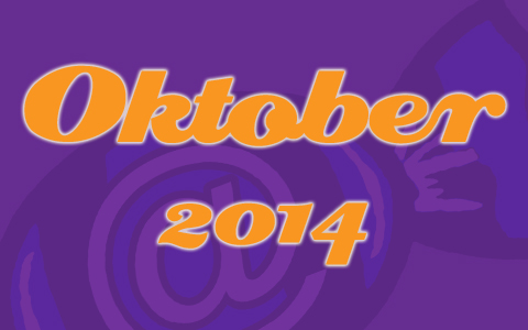 "Social Media Konzepte Bonbon lilaner Transparenz. Aufschrift ""Oktober 2014"" Monatsrückblick Blog"