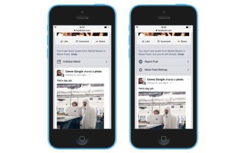 Zwei Smartphones nebeneinander mit unterschiedlicher Facebook Newscontrol.