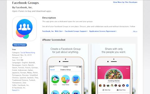 Screenshot im App Store. Geöffnet ist eine App, die das Verwalten von Facebook Gruppen erleichtern soll.