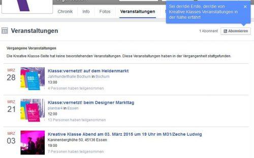Screenshots der Events der Kreativen Klasse bei Facebook.