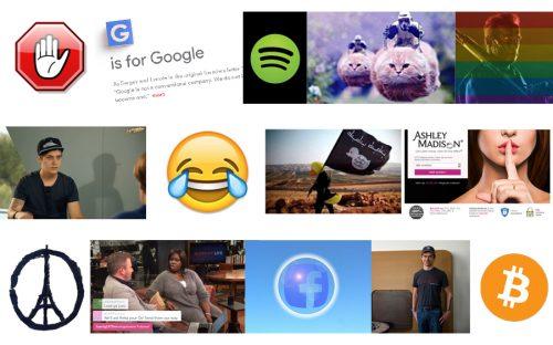 Eine Kollage aus mehreren Bilder. Darunter ein lachendes Smiley, das Facebook-Logo, das Bitcoin-Logo oder der Terminator hinter einer Regenbogen-Flagge.