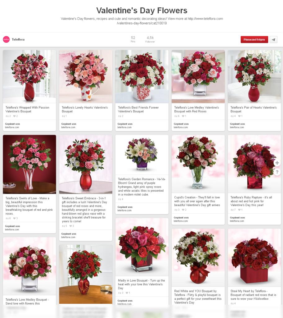 Teleflora Pinterest-Angebote zum Valentinstag