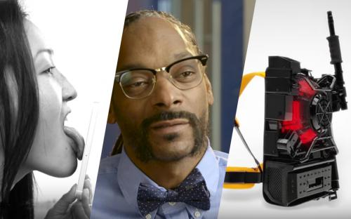 Drei Bilder von einer Frau, die ihr Smartphone ableckt, Snoop Dog und einer Maschine.