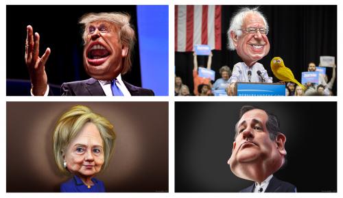 Karikaturen der Kandidaten der Präsidentschaftswahl 2016 in den USA.