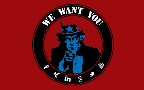 Uncle Sam möchte, dass die Menschen den Sozialen Netzwerken beitreten.