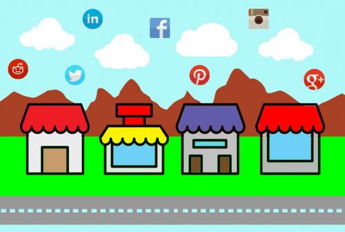 Eine stilisierte Landschaft mit vier Häusern. Im Himmel über ihnen schweben die Logos von Reddit, LinkedIn, Twitter, Facebook, Pinterest, Instagram und Google Plus.