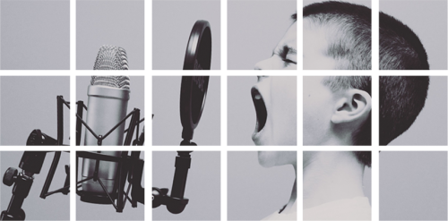 Ein aus einzelnen Quadraten bestehendes Bild zeigt einen Jungen, der laut in ein Mikro singt.