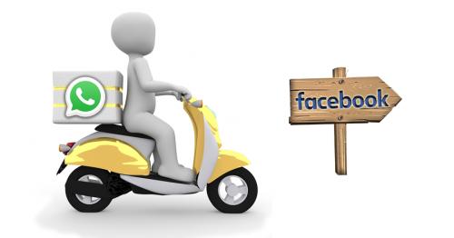 """Eine weiße Figur fährt auf einem gelbem Mofa. Hinter ihr auf dem Sitz steht eine Bock auf der das Whatsapp Logo abgebildet ist. Rechts im Bild in Fahrtrichtung steht ein Holzpfeil mit der Aufschrift """"Facebook"""":"""