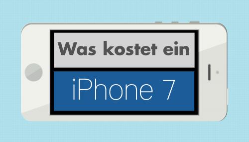 Ein weißes iPhone auf dessen Bildschirm gefragt wird, was ein iPhone 7 kostet.