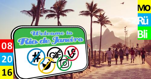 Im Hintergrund ist eine Fotografie von Rio de Janeiro. Im Vordergrund ist ein Schild zu sehen, welches dort Hashtags, Gifs, Twitter und Instagram verbietet.