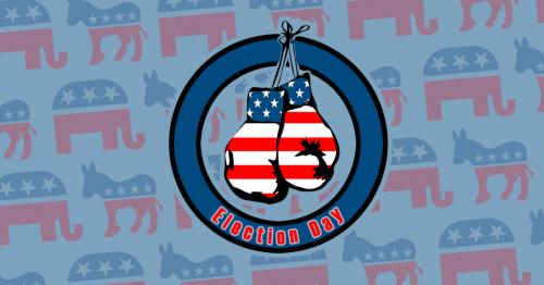 """Zwei Boxhandschuhe im Design der amerikanischen Flagge baumeln in einem Kreis, auf dem """"Election Day"""" steht."""