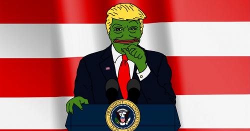 Karikatur des US-amerikanischen Präsidenten Donald Trump als Echsenmensch.