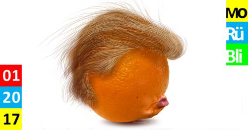 Eine Orange, die die Frisur und die Lippen von Donald Trump hat.