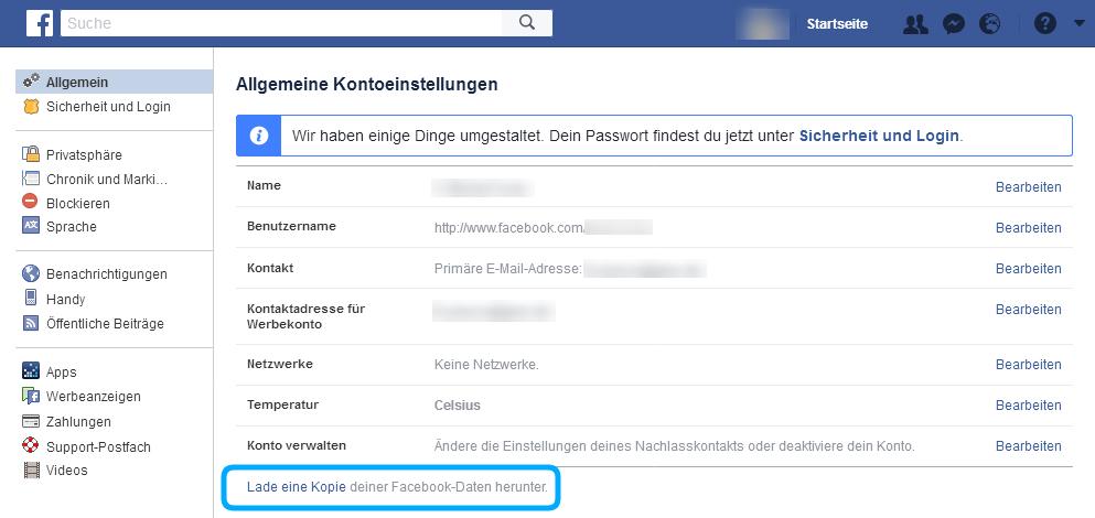 Facebook Sicherheitskopie