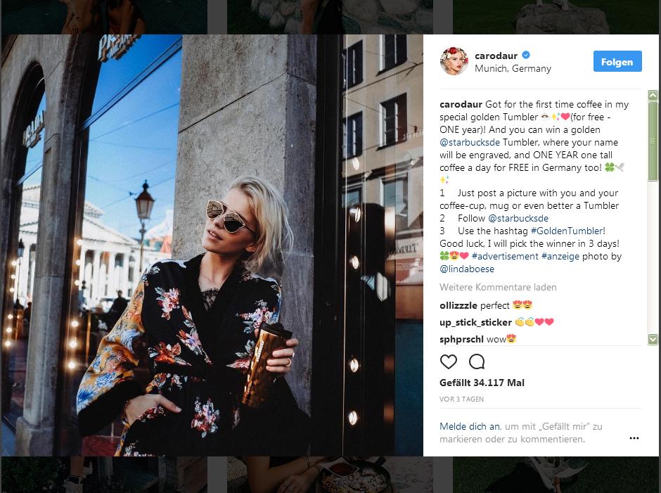 Caro Daur auf Instagram