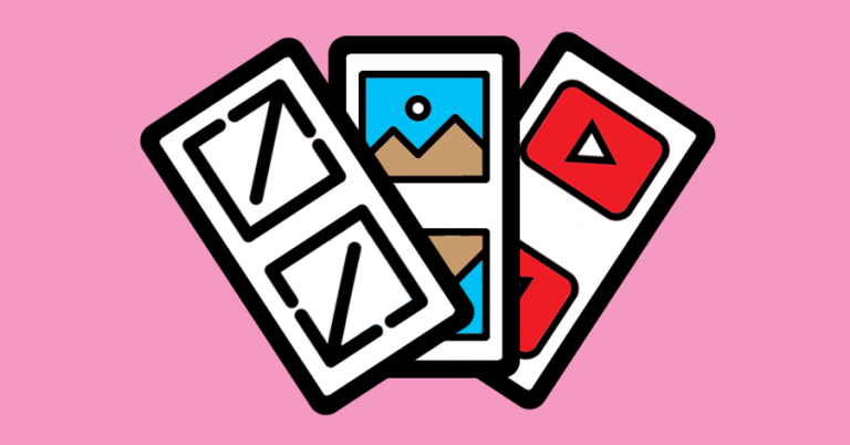 Drei Piktogramme übereinandergelegt. Das Symbol für Vollbild, das Symbol für ein Bild und das Symbol für YouTube