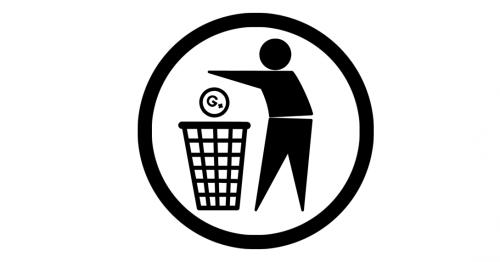 Eine Figur wirft das Google Plus Logo in einen Abfalleimer.