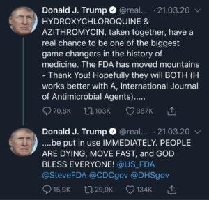 Tweet von Donald Trump über die Verwendung von Chloroquin und Azithromycin bei Corona.
