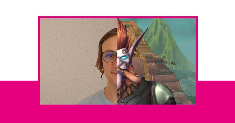 Beitragsbild: Ein menschliches und Zandalaritroll Gesicht sind übereinander gelegt. World of Warcraft.