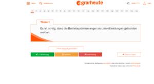 Screenshot der Website agrarheute.com/agraromat zur Vorbereitung auf die Bundestagswahl 2021