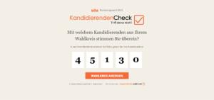 Screenshot der Website Kandidierendencheck.de/bundestag zur Vorbereitung auf die Bundestagswahl 2021