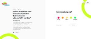 Screenshot der Website klimawahlchecker.de zur Vorbereitung auf die Bundestagswahl 2021
