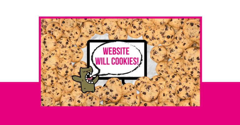Ein Monster sagt, dass die Website Cookies will. Cookies umzingeln das Monster.