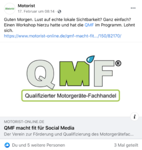 Social-Media-Workshops für QMF - die Zeitschrift Motorist berichtet (Facebook-Posting).