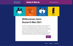 Screenshot des Sozial-O-Mats zur Vorbereitung auf die Bundestagswahl 2021