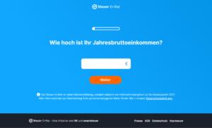 Screenshot des Steuer-O-Mats zur Vorbereitung auf die Bundestagswahl 2021
