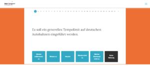 Screenshot des Wahl-Kompasses zur Vorbereitung auf die Bundestagswahl 2021