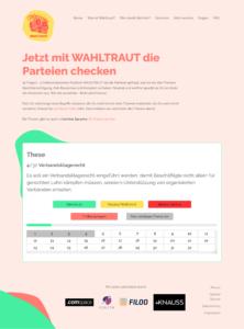 Screenshot der Website Wahltraut.de zur Vorbereitung auf die Bundestagswahl 2021